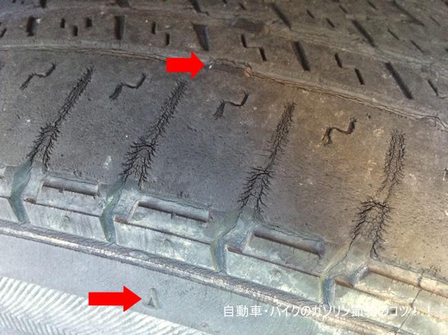 タイヤの外側にある△印の溝が減ってき始めたら交換時期